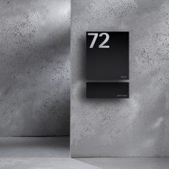 Design Briefkasten Edelstahl anthrazit Hausnummer
