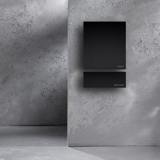 Wandbriefkasten anthrazit mit zeitungsbox