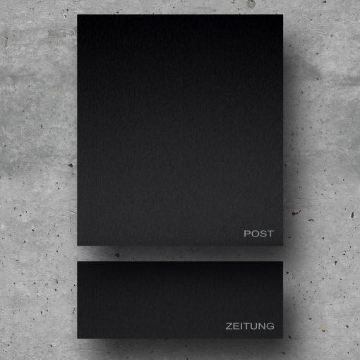 Wandbriefkasten schwarz mit Zeitungsbox