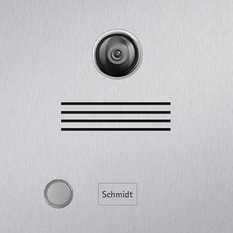 Detailansicht Briefkasten Edelstahl Video Kamera Beschriftung Klingeltaster