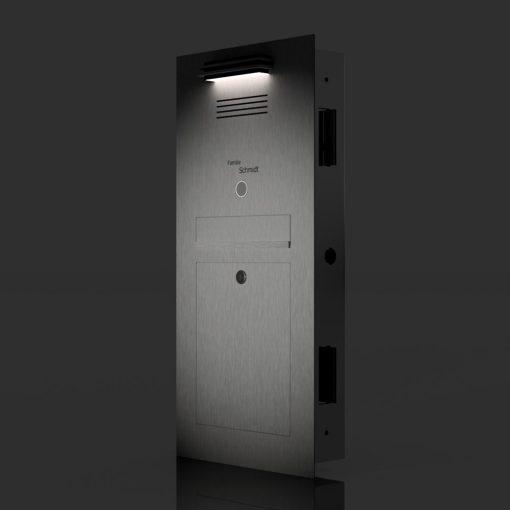 Briefkasten_Edelstahl_Unterputz_LED_L4A_Türsprechanlage_Audio_Comelit_Klingeltaster