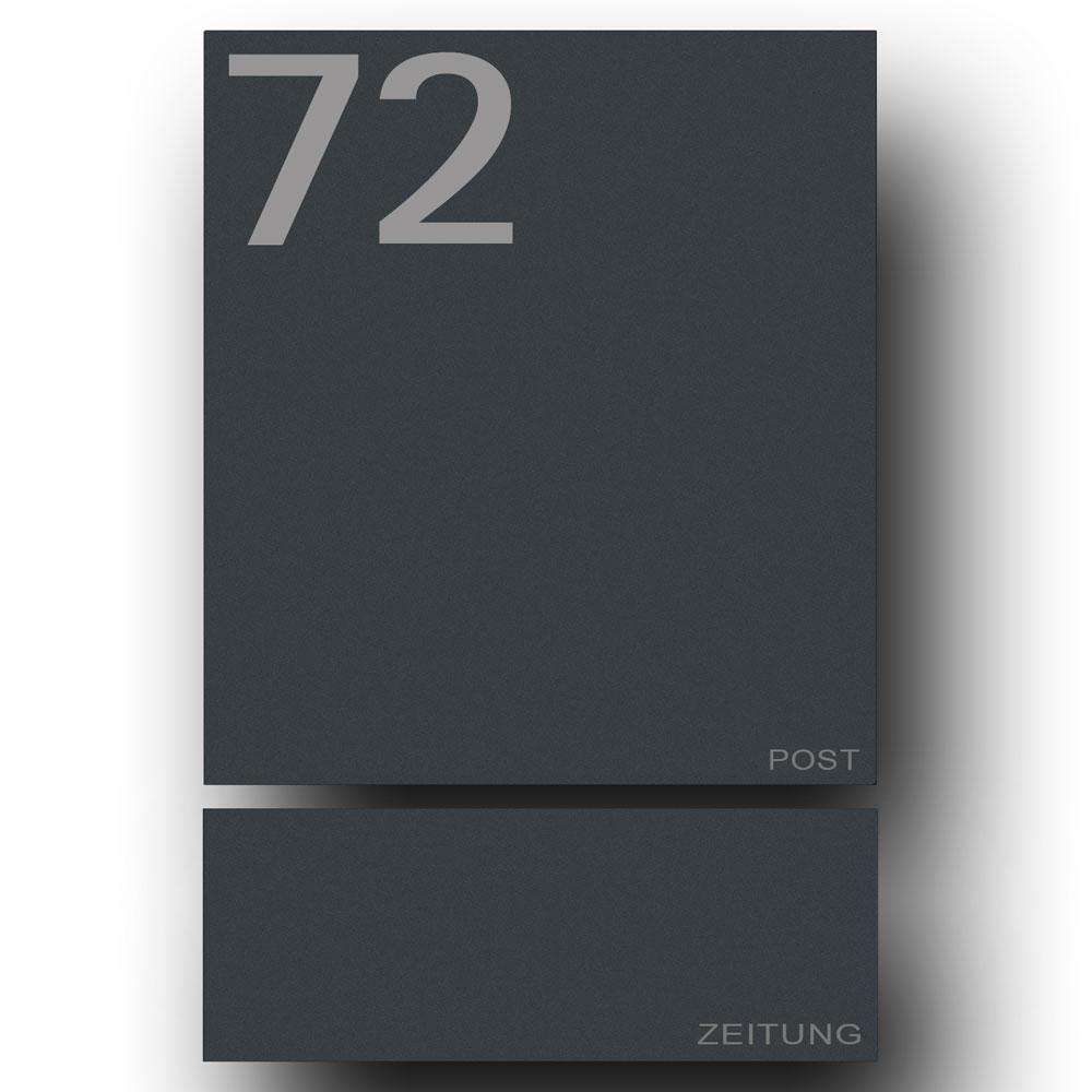 Edelstahl Briefkasten mit Zeitungsfach - B1 7016 Number