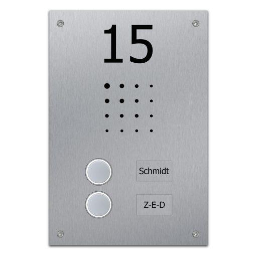 Edelstahl Türklingel Unterputz Zweifamilie Namensbeschriftung Klingeltaster beleuchtet Hausnummer