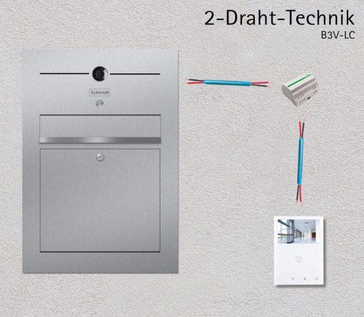Türsprechanlage Briefkasten Edelstahl Video 2-Draht Technik