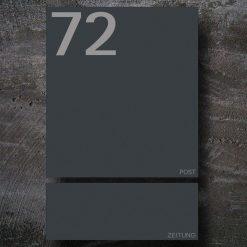 Briefkasten Edelstahl Anthrazit Zeitungsfach Hausnummer Beschriftung Wandmontage