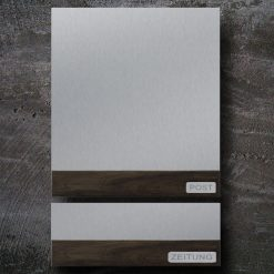 Briefkasten Edelstahl Holz Zeitungsfach Beschriftung Wandmontage