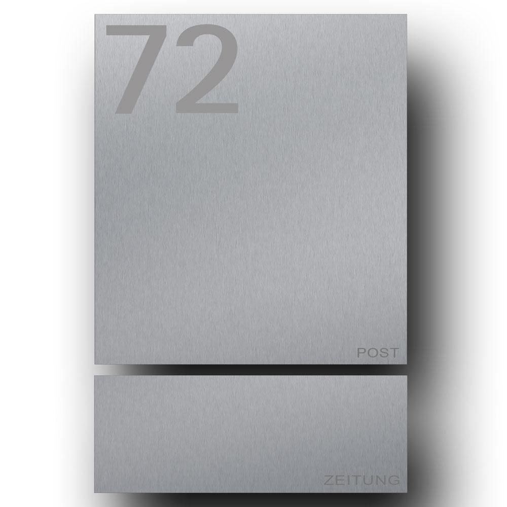 Edelstahl Briefkasten mit Zeitungsfach - B1 Number