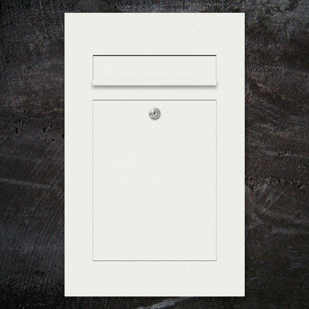 Briefkasten mit Einwurf - Farbe weiss