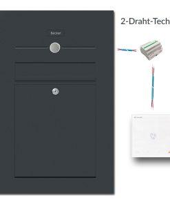Briefkasten Edelstahl Audio Gegensprechanlage Innenstation 2 Draht Technik RAL7016 Anthrazit