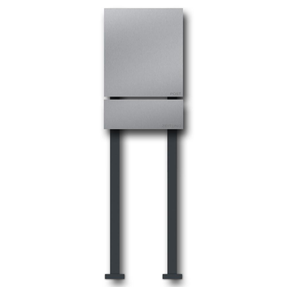 edelstahl briefkasten mit zeitungsfach freistehend b1 steel briefkasten und t rklingel aus. Black Bedroom Furniture Sets. Home Design Ideas