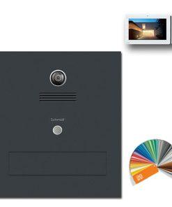 Durchwurfanlage Edelstahl Kamera Video Gegensprechanlage Klingeltaster Namensbeschriftung pulverbeschichtet RAL7016 Anthrazit