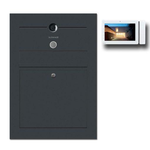 Briefkasten Edelstahl Gegensprechanlage Video Kamera Klingeltaster Namensbeschriftung Anthrazit RAL7016 Pulverbeschichtet