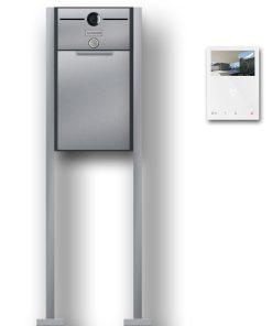 Briefkasten Edelstahl freistehend Standfüße Video Kamera Gegensprechanlage Namensschild Klingeltaster Anthrazit RAL7016