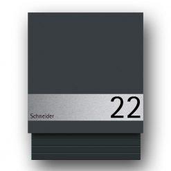 Briefkasten Edelstahl Wandmontage Hausnummer Namensbeschriftung pulverbeschichtet Anthrazit RAL7016 Zeitungsfach