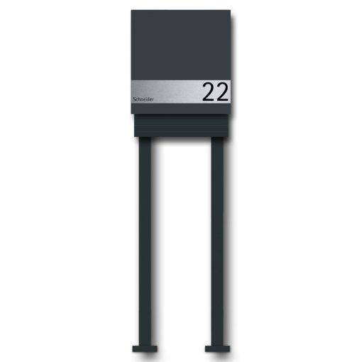 Briefkasten Edelstahl Wandmontage Hausnummer Namensbeschriftung pulverbeschichtet Anthrazit RAL7016 Zeitungsfach freistehend Standfüße