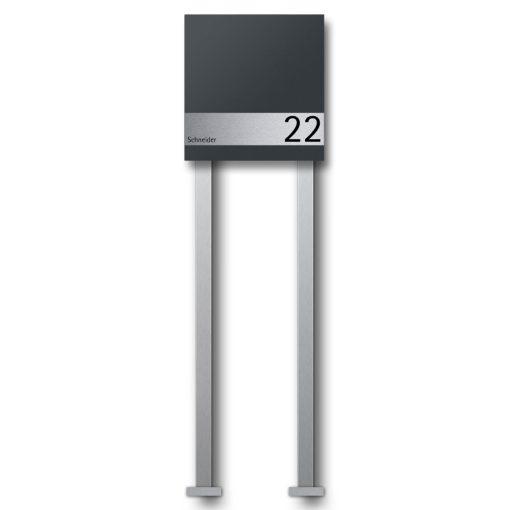 Briefkasten Edelstahl Wandmontage Hausnummer Namensbeschriftung pulverbeschichtet Anthrazit RAL7016 freistehend Standfüße