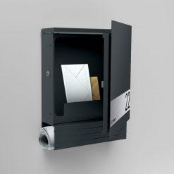 Briefkasten Edelstahl Wandmontage Hausnummer Namensbeschriftung pulverbeschichtet Anthrazit RAL7016