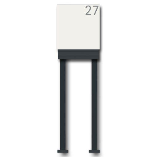 Briefkasten Edelstahl Freistehend Standfüße Hausnummer Namensbeschriftung pulverbeschichtet Weiss RAL9016 Anthrazit 7016