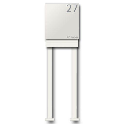 Briefkasten Edelstahl Zeitungsfach Pulverbeschichtet Weiss RAL9016 Wandbefestigung Beschriftung Hausnummer Freistehend