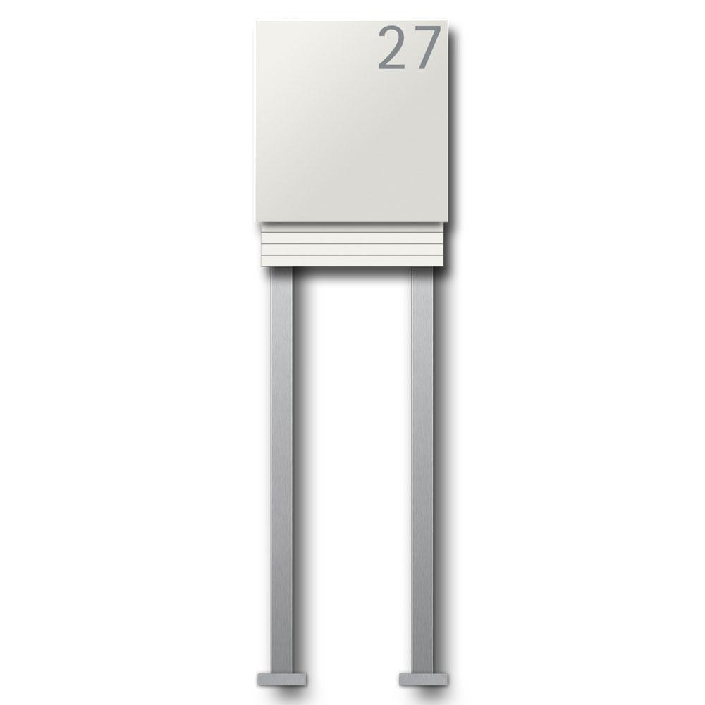 Briefkasten Weiss freistehend mit Hausnummer - B1 Light Number White