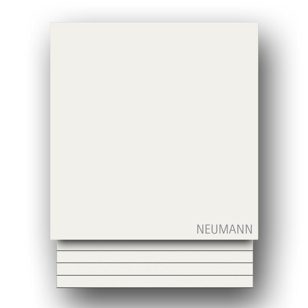 Briefkasten Edelstahl Wandmontage Hausnummer Namensbeschriftung pulverbeschichtet Weiss RAL9016