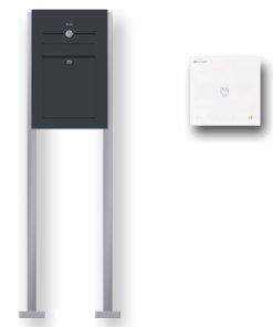 Briefkasten Edelstahl Audio Comelit Gegensprechanlage Klingeltaster beleuchtet freistehend Standfüsse Anthrazit RAL7016