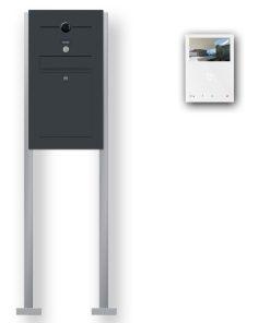 Briefkasten Edelstahl Videosprechanlage Klingeltaster beleuchtet freistehend Standfüsse Wlan Wifi Anthrazit RAL7016 Pulverbeschichtet
