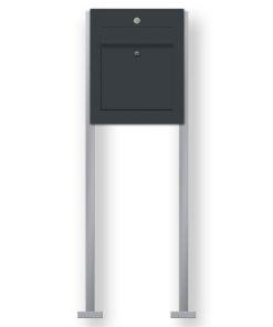 Briefkasten Edelstahl freistehend Briefeinwurf Klingeltaster beleuchtet LED Beschriftung Anthrazit RAL7016 pulverbeschichtet