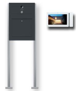 Briefkasten Edelstahl Videosprechanlage Klingeltaster beleuchtet freistehend Standfüsse Anthrazit RAL7016 Pulverbeschichtet