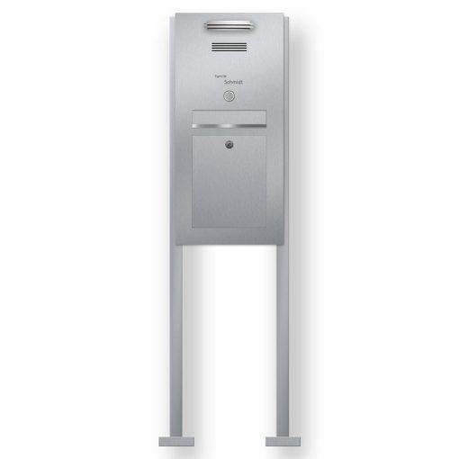 Briefkasten Edelstahl Gegensprechanlage vorbereitet Klingeltaster beleuchtet freistehend Beschriftung LED Anthrazit