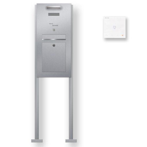 Briefkasten Edelstahl Gegensprechanlage Comelit Mini Handfree Klingeltaster beleuchtet freistehend Beschriftung LED