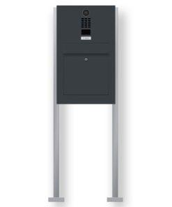 Briefkasten Edelstahl Gegensprechanlage Doorbird Klingeltaster beleuchtet freistehend Beschriftung Anthrazit RAL7016