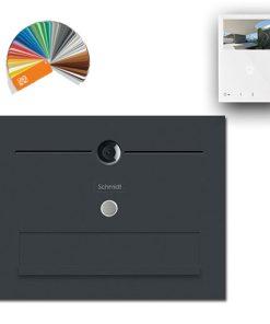 Durchwurf Briefkasten Edelstahl Videosprechanlage Kamera Klingeltaster beleuchtet Namensbeschriftung Wifi pulverbeschichtet Anthrazit RAL7016