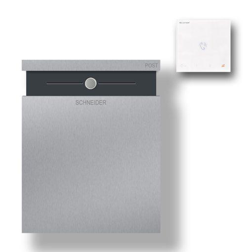 Briefkasten Edelstahl Wandbefestigung Anthrazit RAL7016 Pulverbeschichtet Klingeltaster LED Audio Gegensprechanlage