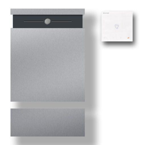 Briefkasten Edelstahl Wandbefestigung Anthrazit RAL7016 Pulverbeschichtet Klingeltaster LED Audio Gegensprechanlage Zeitungsfach