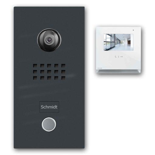 Klingelanlage Gegenspechanlage Anthrazit RAL7016 Video Audio Comelit Klingeltaster LED Namensbeschriftung Aufputz Unterputz