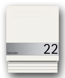Briefkasten_Edelstahl_B1_Light_White_Shield_Modern_Wandbefestigung_Pulverbeschichtung_RAL9016_Weiss