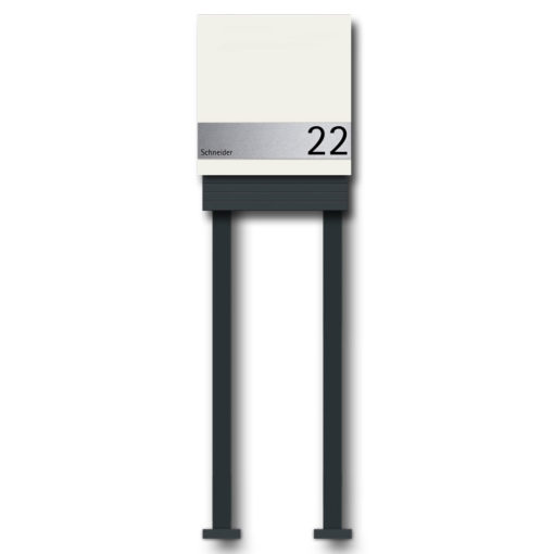 Briefkasten Edelstahl Zeitungsfach Pulverbeschichtet Weiss RAL9016 Wandbefestigung Beschriftung Freistehend