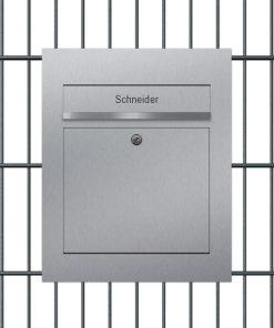 Briefkasten Edelstahl Zaun Doppelstabmattenzaun Aufputz Briefeinwurf Beschriftung