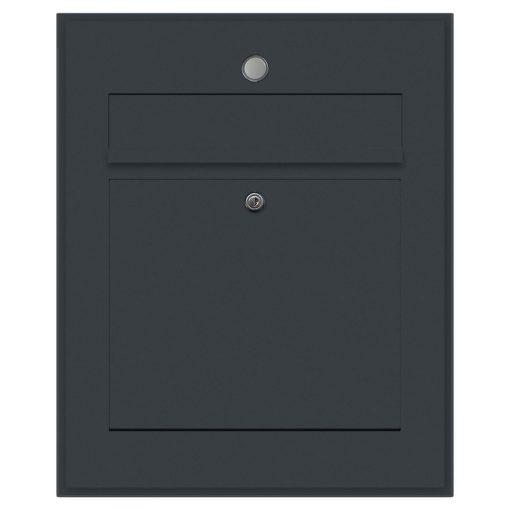 Briefkasten Edelstahl Unterputz Türklingel Klingeltaster beleuchtet Beschriftung Anthrazit RAL7016 Pulverbeschichtung Schattenfuge Rahmen Klingeltaster LED