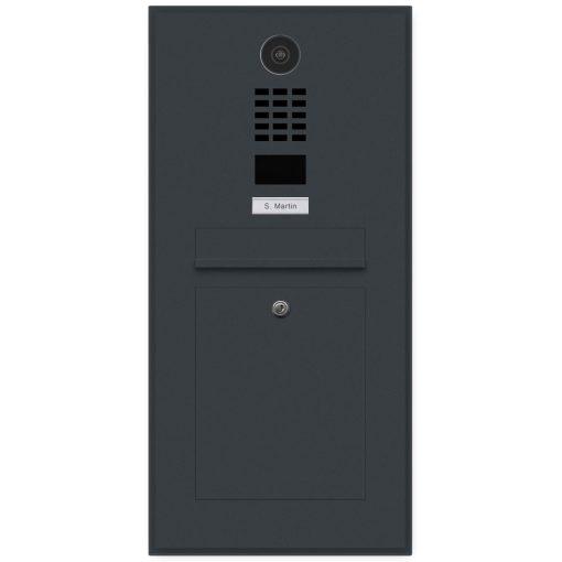 Anthrazit Briefkasten Videosprechanlage DoorBird Unterputz Edelstahl Anthrazit RAL7016 Schattenfuge Rahmen