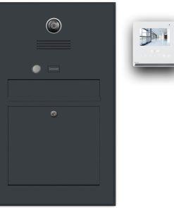Briefkasten Edelstahl Gegensprechanlage Video Kamera Klingeltaster Namensbeschriftung Anthrazit RAL7016 Pulverbeschichtung