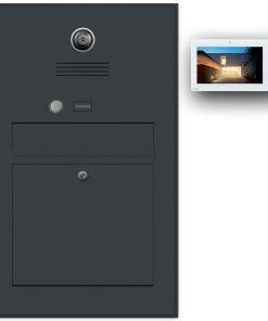 Briefkasten Edelstahl Gegensprechanlage Video Kamera Klingeltaster Namensbeschriftung Anthrazit RAL7016 Pulverbeschichtung Schattenfuge Rahmen