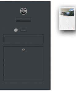 Briefkasten Edelstahl Gegensprechanlage Video Kamera Klingeltaster Namensbeschriftung Wifi Wlan Anthrazit RAL7016 Pulverbeschichtung