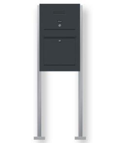 Briefkasten Edelstahl Audio Gegensprechanlage Klingeltaster beleuchtet freistehend Standfüsse Anthrazit RAL7016