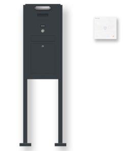 Briefkasten Edelstahl Audio Comelit Gegensprechanlage Klingeltaster beleuchtet freistehend Standfüsse Anthrazit RAL7016 LED Beleuchtung