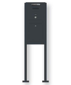 Briefkasten Edelstahl Audio Gegensprechanlage Klingeltaster beleuchtet freistehend Standfüsse Anthrazit RAL7016 LED Beleuchtung