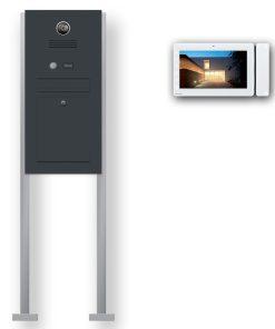 Briefkasten Edelstahl Videosprechanlage Klingeltaster beleuchtet freistehend Standfüsse Anthrazit RAL7016 Pulverbeschichtung