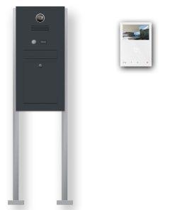 Briefkasten Edelstahl Videosprechanlage Klingeltaster beleuchtet freistehend Standfüsse Wlan Wifi Smartphone App Anthrazit RAL7016 Pulverbeschichtung