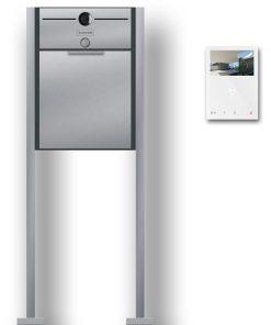 Briefkasten Edelstahl freistehend Standfüße Video Kamera Gegensprechanlage Namensschild Klingeltaster Anthrazit RAL7016 Wifi Wlan
